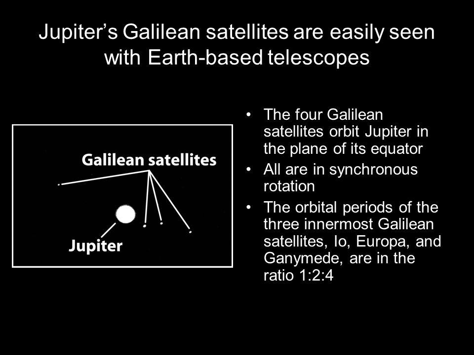 Jupiter's Galilean satellites are easily seen with Earth-based telescopes