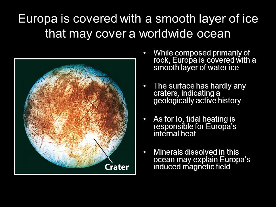 Europa is covered with a smooth layer of ice that may cover a worldwide ocean