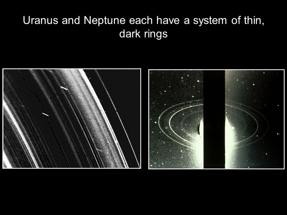 Uranus and Neptune each have a system of thin, dark rings