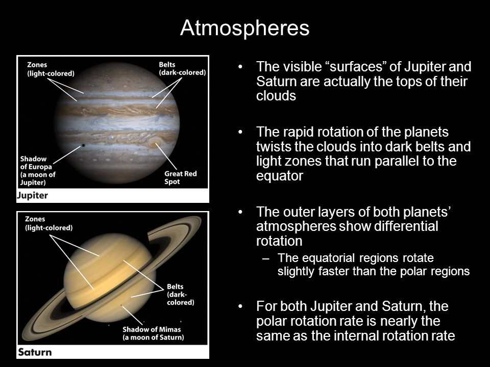 Atmospheres The visible surfaces of Jupiter and Saturn are actually the tops of their clouds.