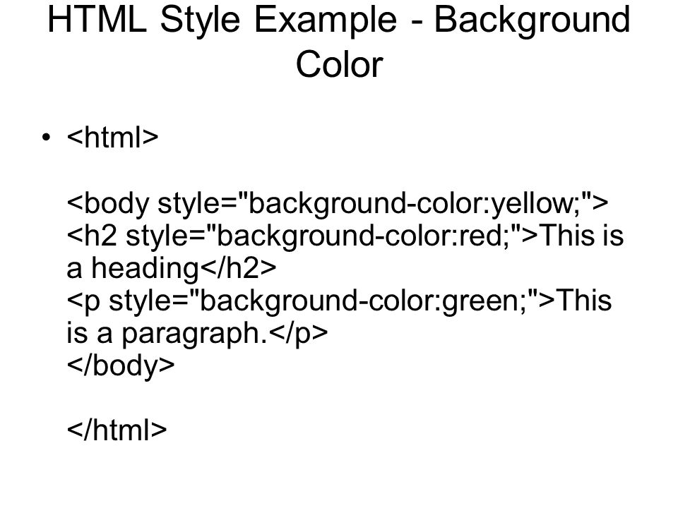 HTML Style Example - Background Color