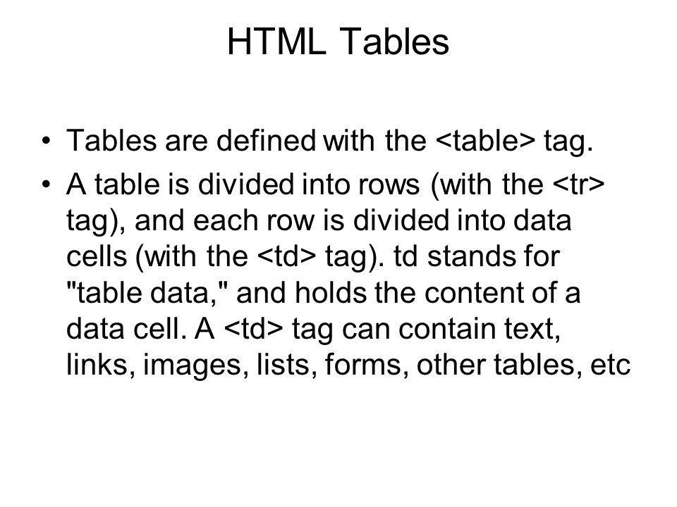 HTML Tables Tables are defined with the <table> tag.