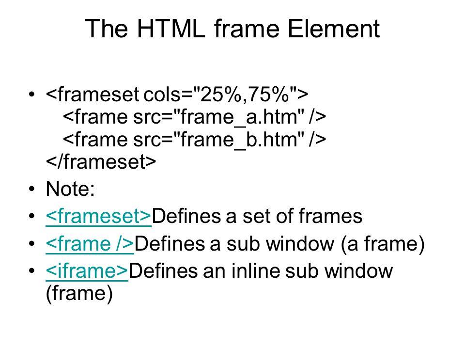 The HTML frame Element <frameset cols= 25%,75% > <frame src= frame_a.htm /> <frame src= frame_b.htm /> </frameset>