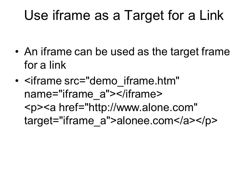 Use iframe as a Target for a Link
