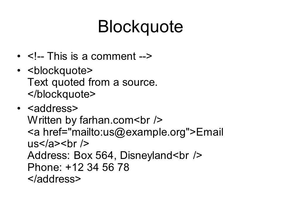 Blockquote <!-- This is a comment -->