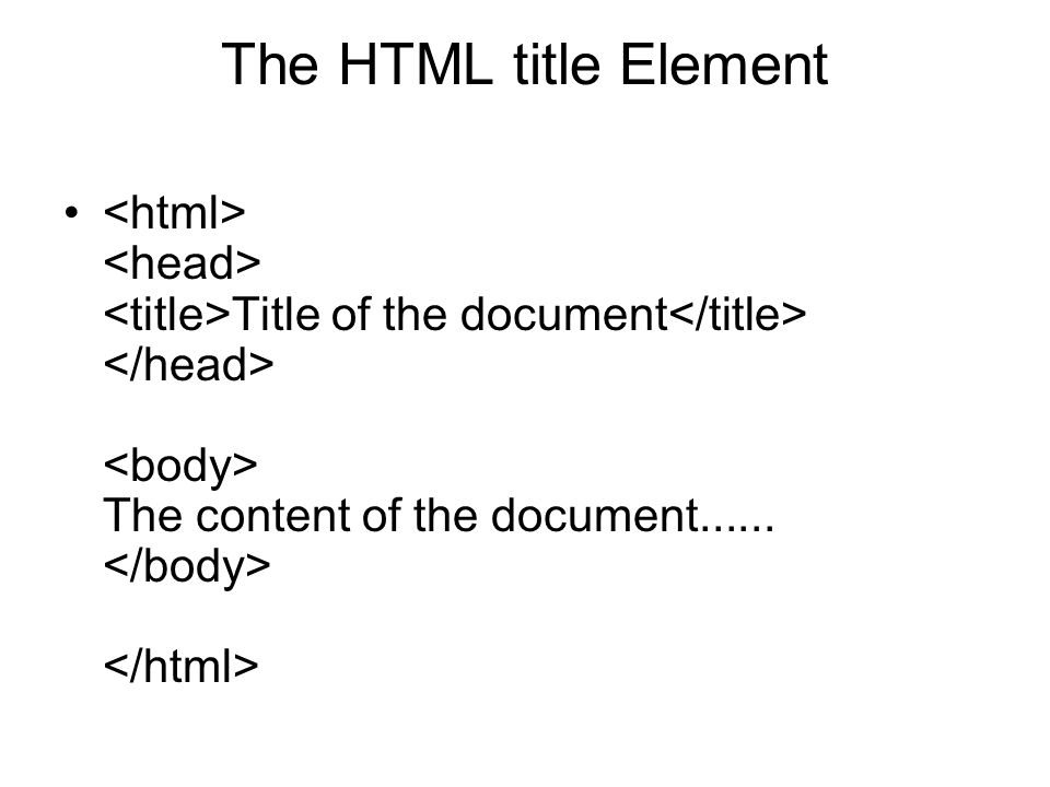 The HTML title Element <html> <head> <title>Title of the document</title> </head> <body> The content of the document......