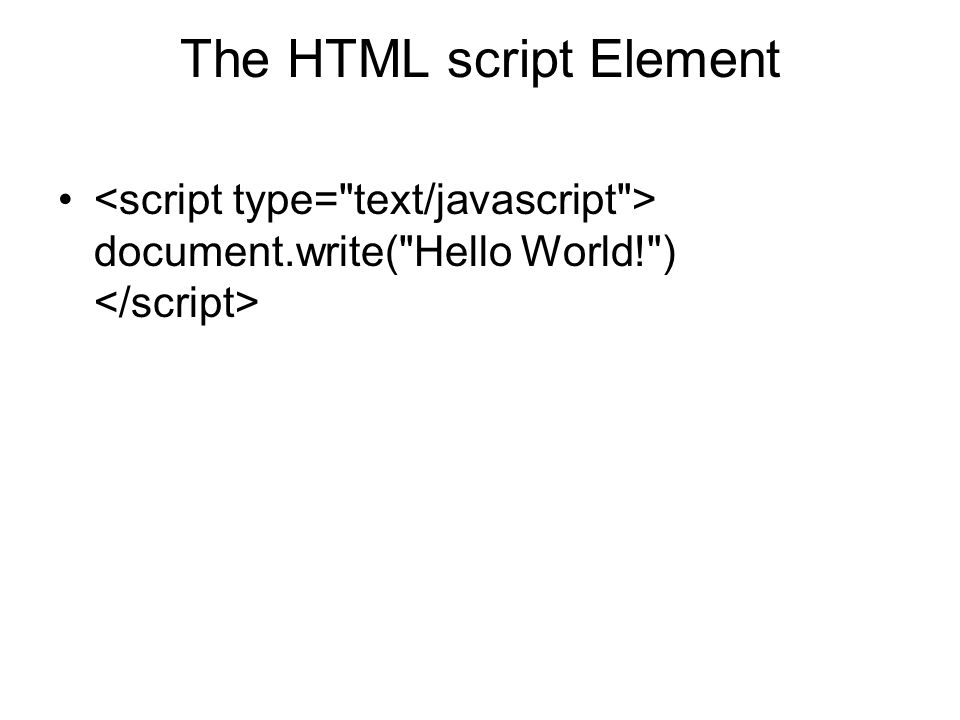 The HTML script Element