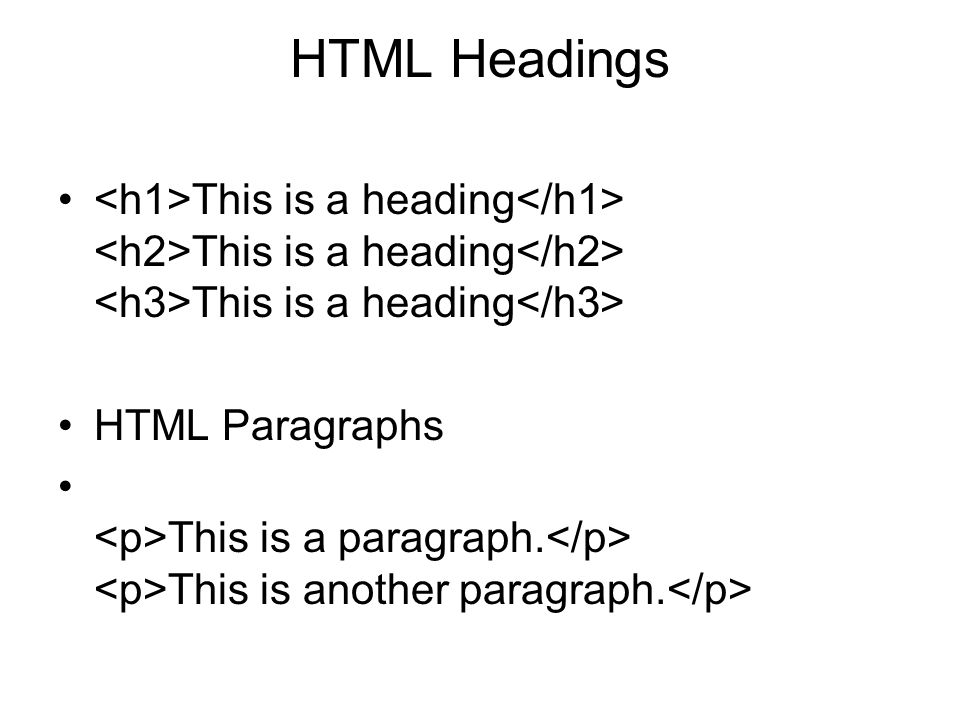 HTML Headings <h1>This is a heading</h1> <h2>This is a heading</h2> <h3>This is a heading</h3> HTML Paragraphs.