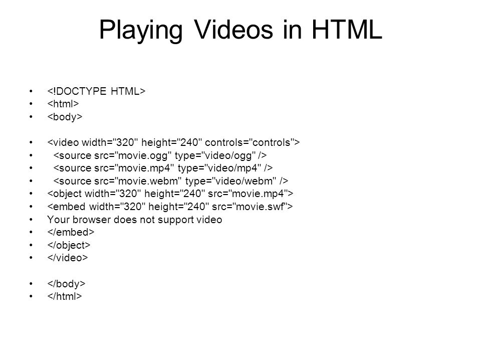 Playing Videos in HTML <!DOCTYPE HTML> <html> <body>