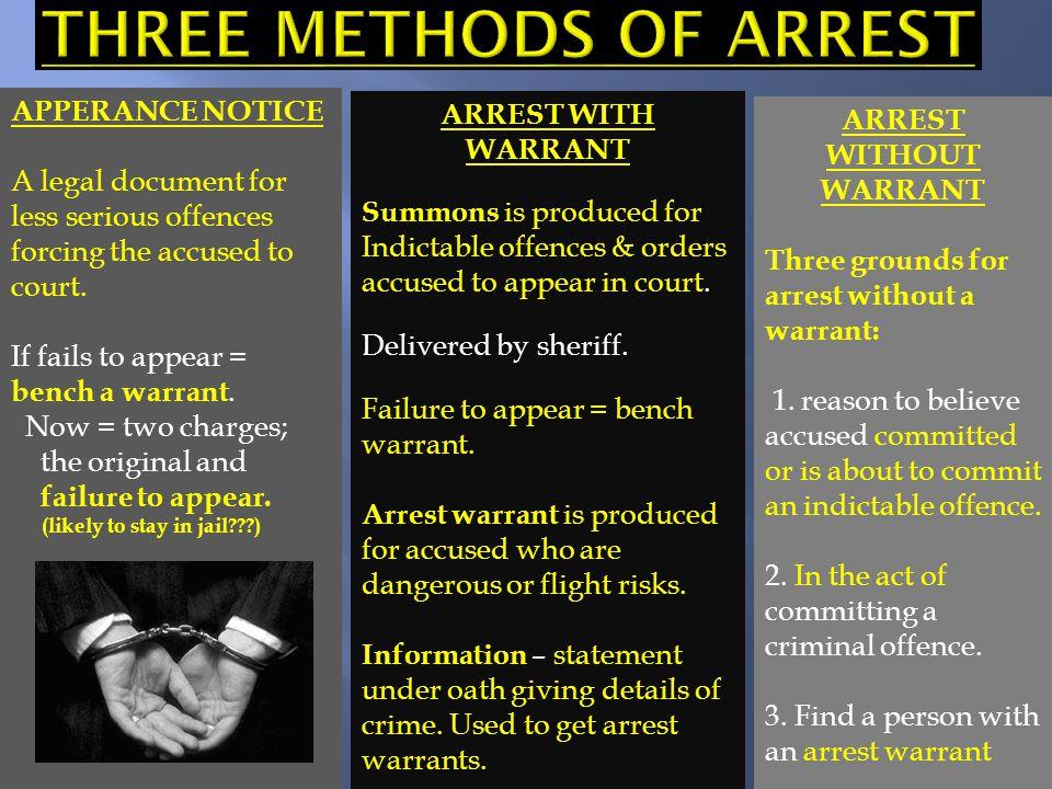 Three methods of arrest