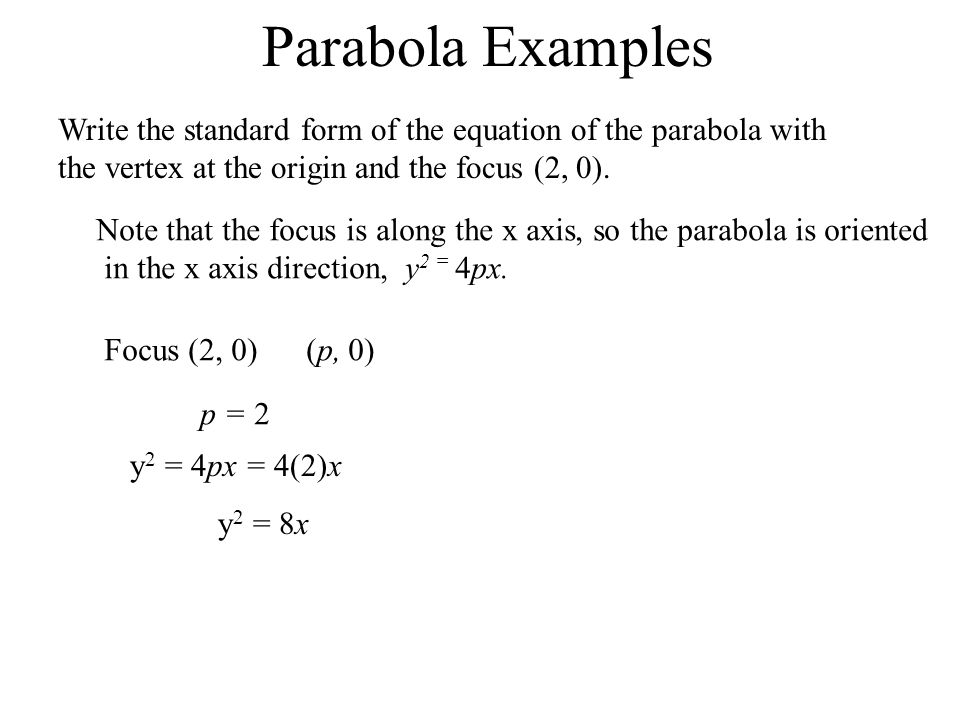 Parabola ExamplesWrite the standard form of the equation of the parabola with the vertex at the origin and the focus (2, 0).