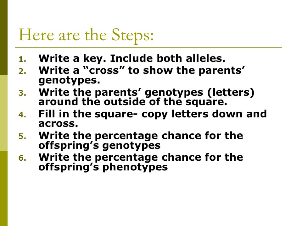 Here are the Steps: Write a key. Include both alleles.