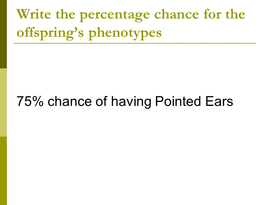 Write the percentage chance for the offspring's phenotypes