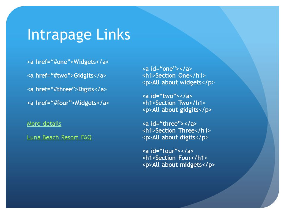 Intrapage Links