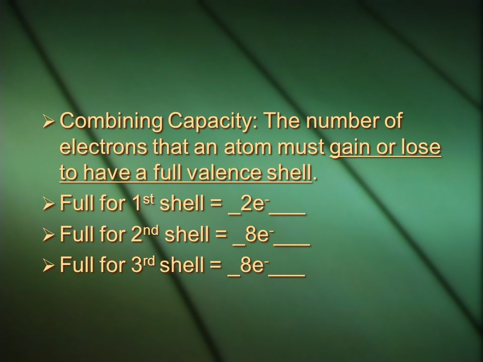 Combining Capacity: The number of electrons that an atom must gain or lose to have a full valence shell.