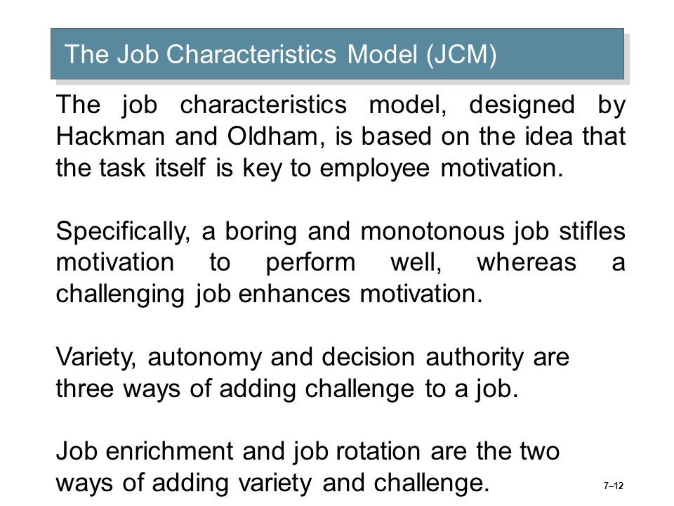 the job characteristic model and internal motivation The job characteristics model is a tool which enables you to understand how the attributes of a person's job contributes to their motivation to perform that job you can use the tool to create a new roles that are both motivating and rewarding, or to rectify an existing role when an employee isn't performing to the expected standard or.