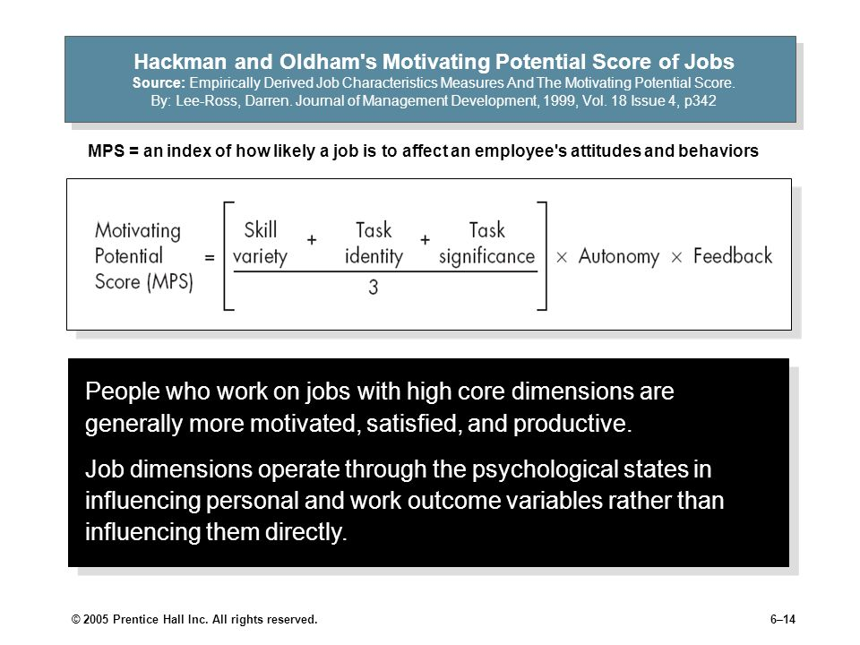 Hackman and Oldham s Motivating Potential Score of Jobs Source: Empirically Derived Job Characteristics Measures And The Motivating Potential Score. By: Lee-Ross, Darren. Journal of Management Development, 1999, Vol. 18 Issue 4, p342