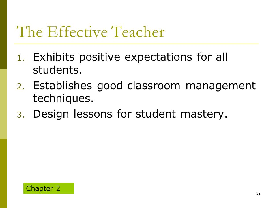 The Effective Teacher Exhibits positive expectations for all students.