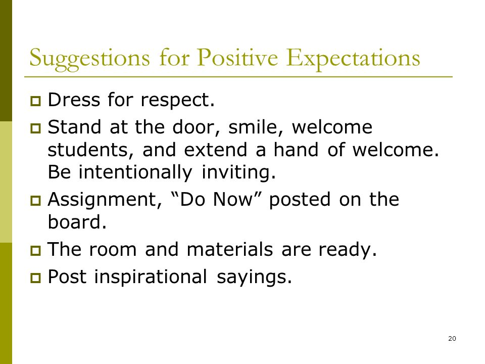 Suggestions for Positive Expectations