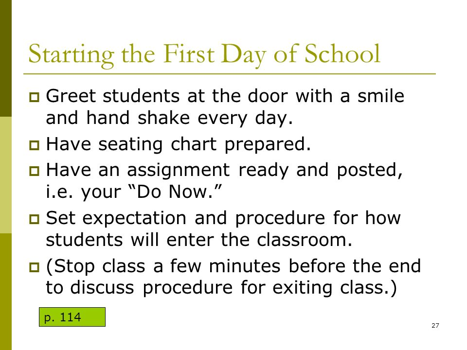 Starting the First Day of School