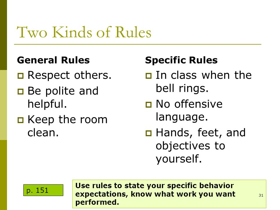 Two Kinds of Rules Respect others. Be polite and helpful.
