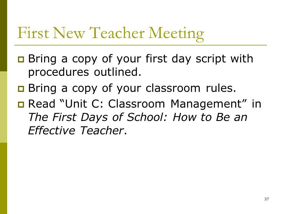 First New Teacher Meeting