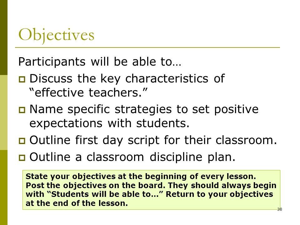 Objectives Participants will be able to…
