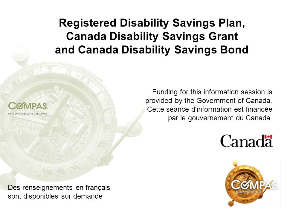 Registered Disability Savings Plan, Canada Disability Savings Grant and Canada Disability Savings Bond