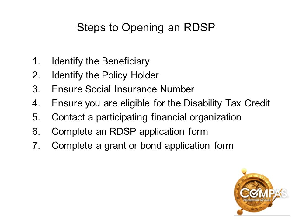 Steps to Opening an RDSP