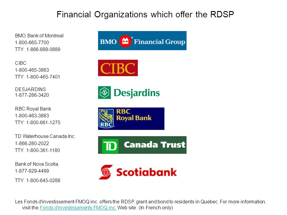 Financial Organizations which offer the RDSP