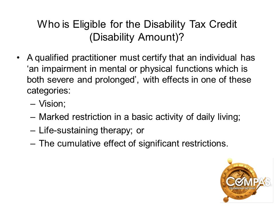 Who is Eligible for the Disability Tax Credit (Disability Amount)