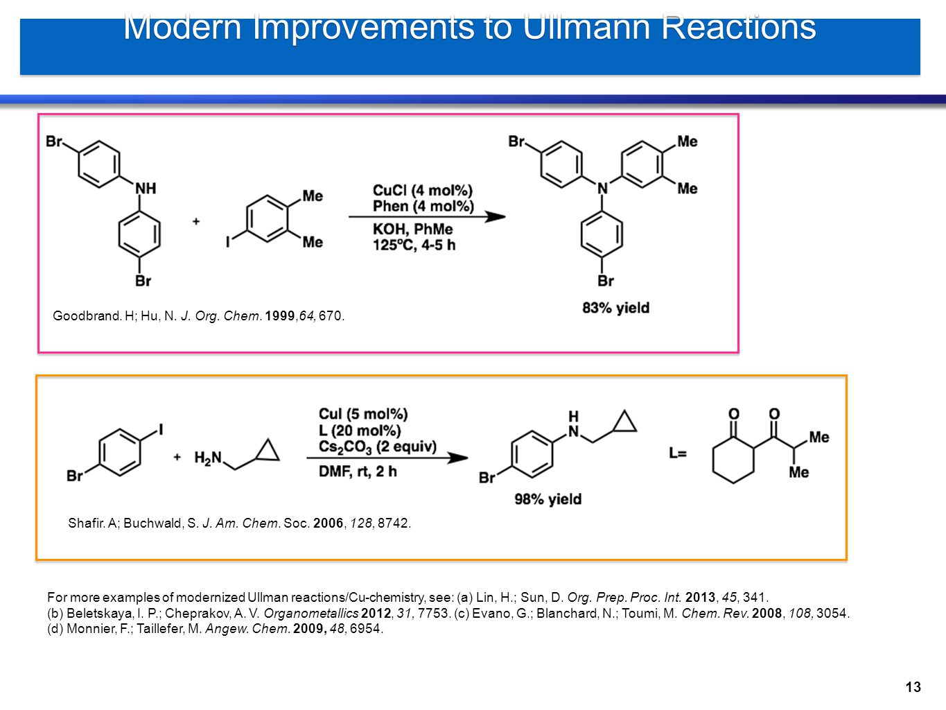 Modern Improvements to Ullmann Reactions