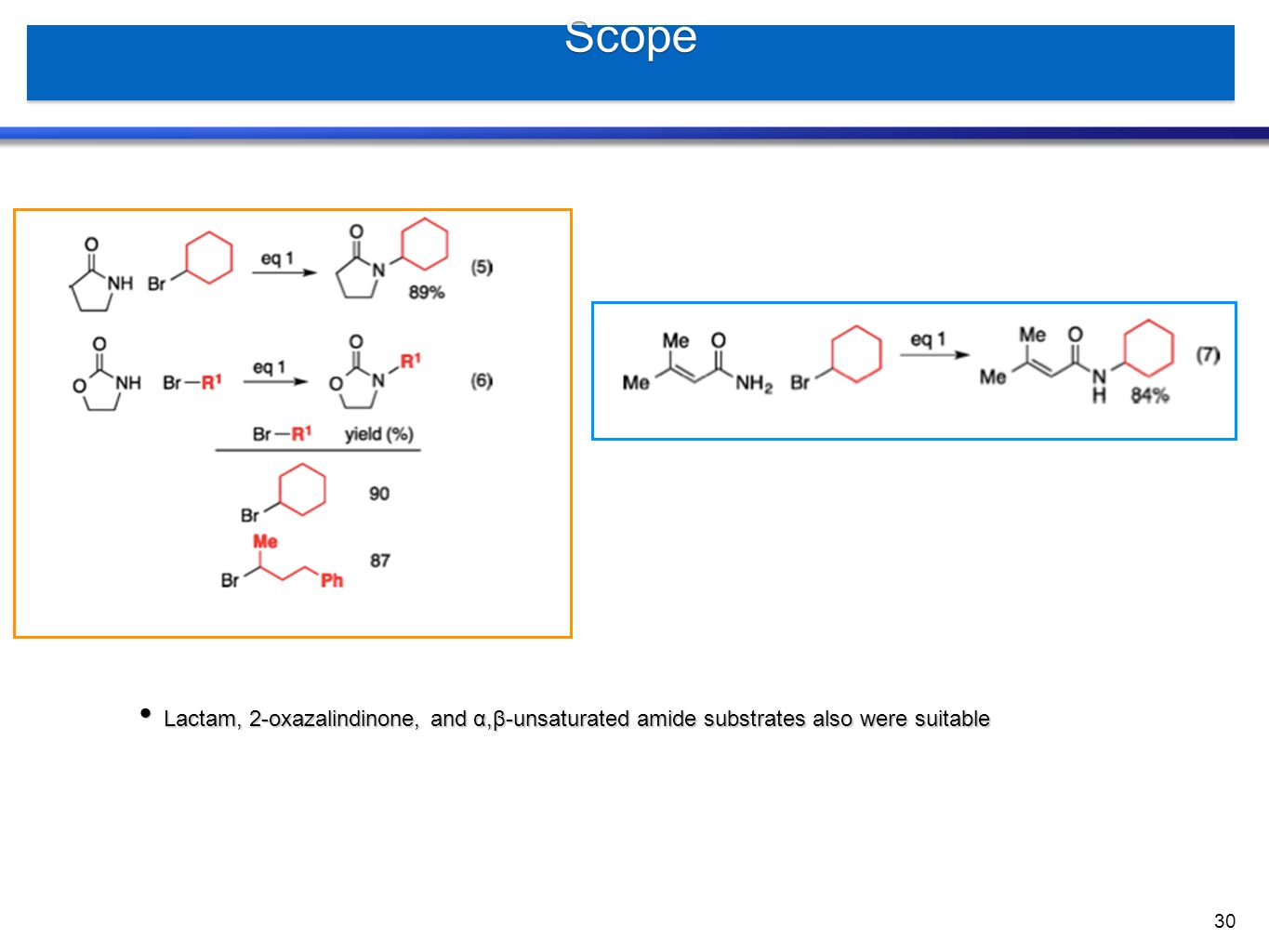 Scope Lactam, 2-oxazalindinone, and α,β-unsaturated amide substrates also were suitable