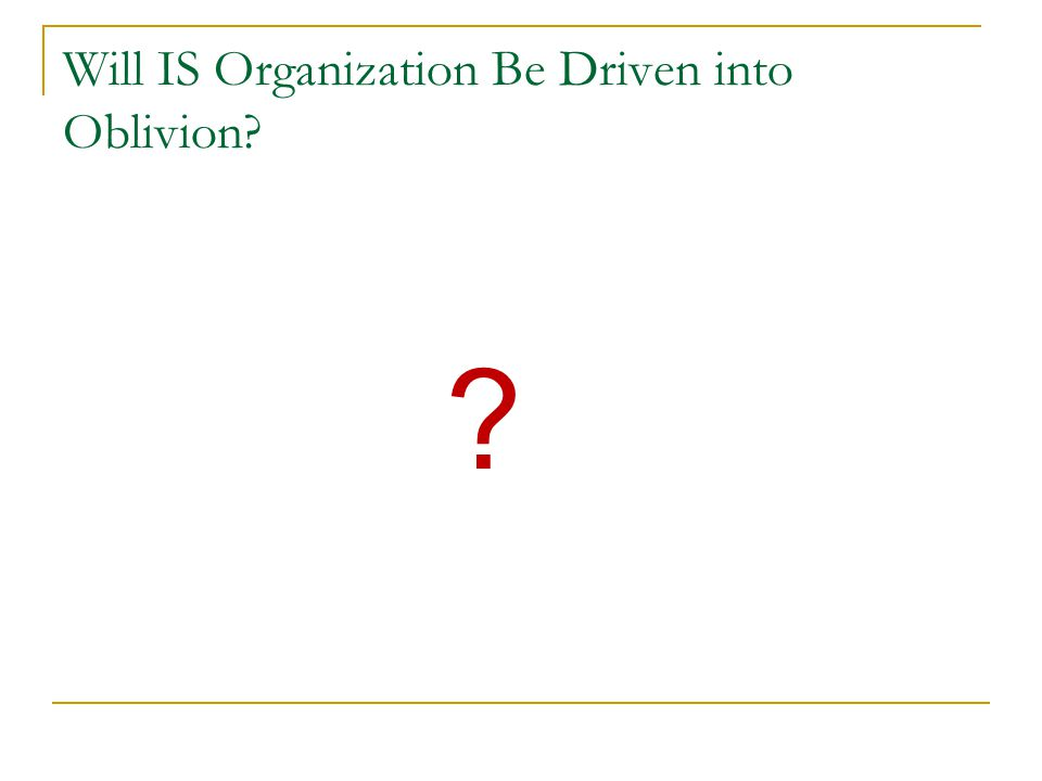 Will IS Organization Be Driven into Oblivion