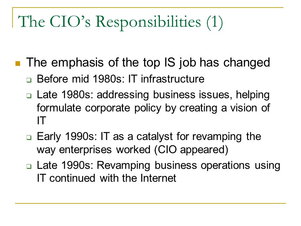 The CIO's Responsibilities (1)