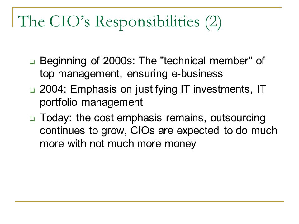 The CIO's Responsibilities (2)