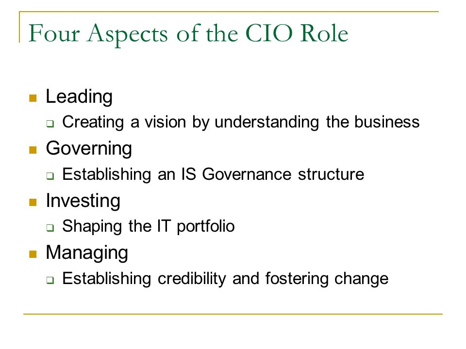Four Aspects of the CIO Role