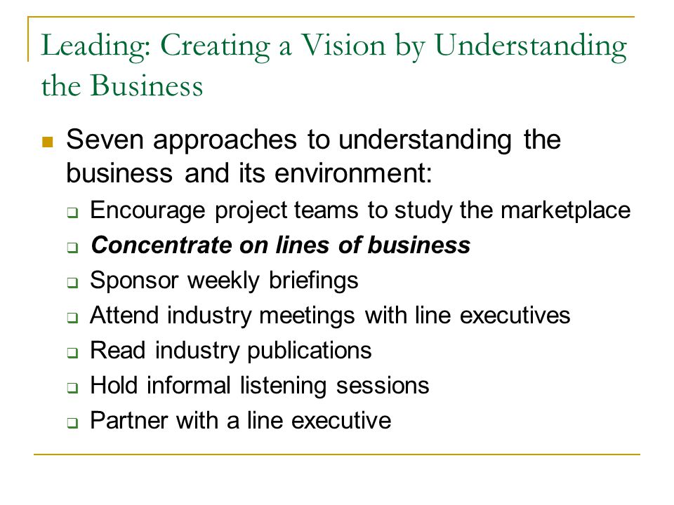 Leading: Creating a Vision by Understanding the Business
