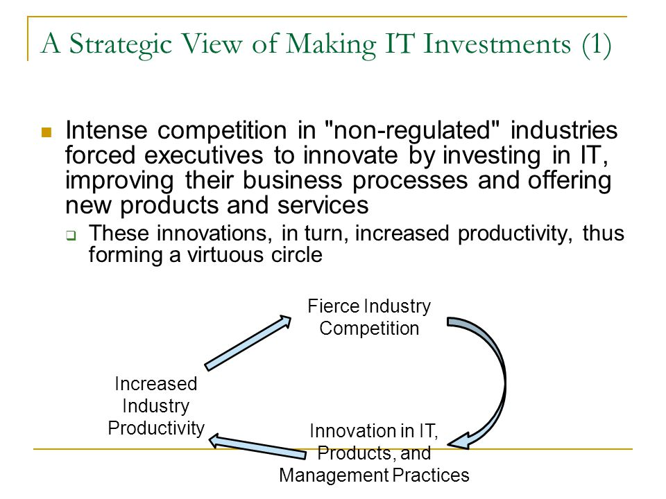 A Strategic View of Making IT Investments (1)