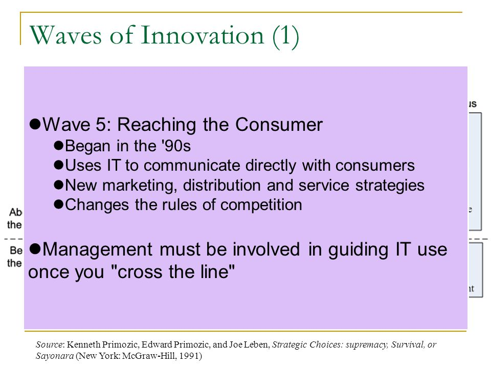 Waves of Innovation (1) Wave 1: Reducing costs