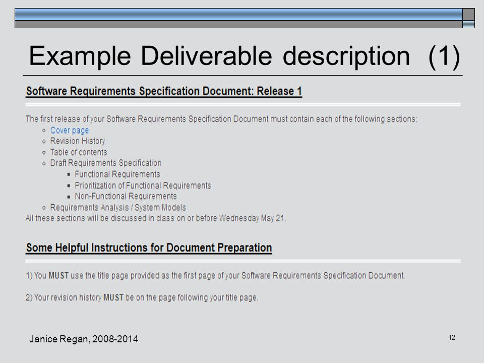 Example Deliverable description (1)