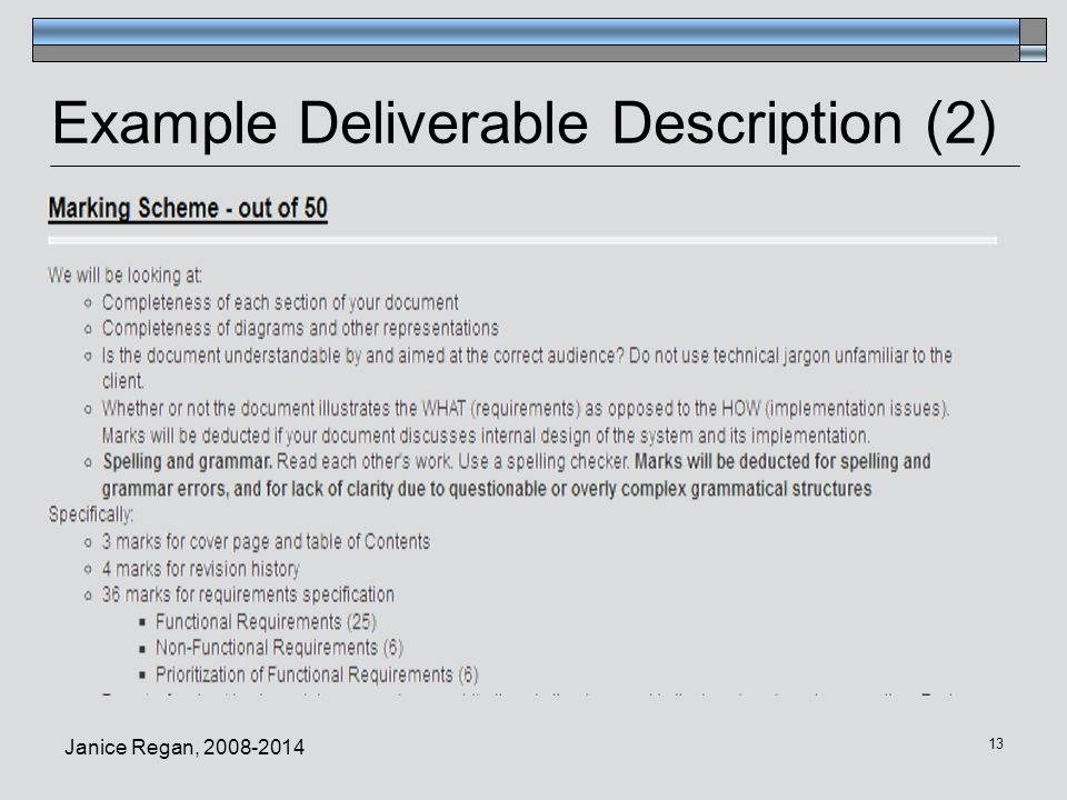 Example Deliverable Description (2)