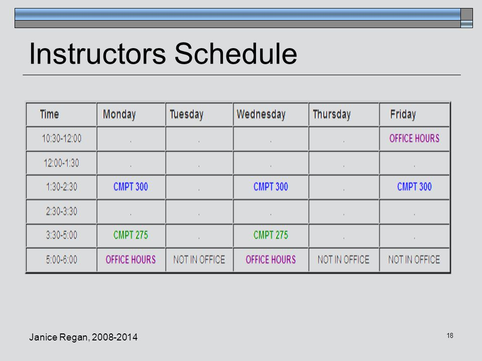 Instructors Schedule Janice Regan, 2008-2014