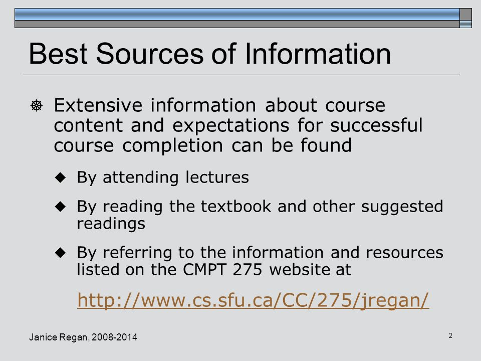 Best Sources of Information
