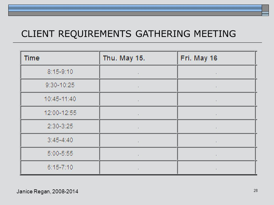 CLIENT REQUIREMENTS GATHERING MEETING