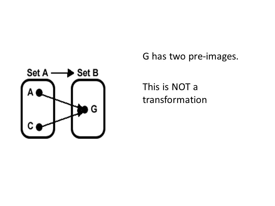 G has two pre-images. This is NOT a transformation