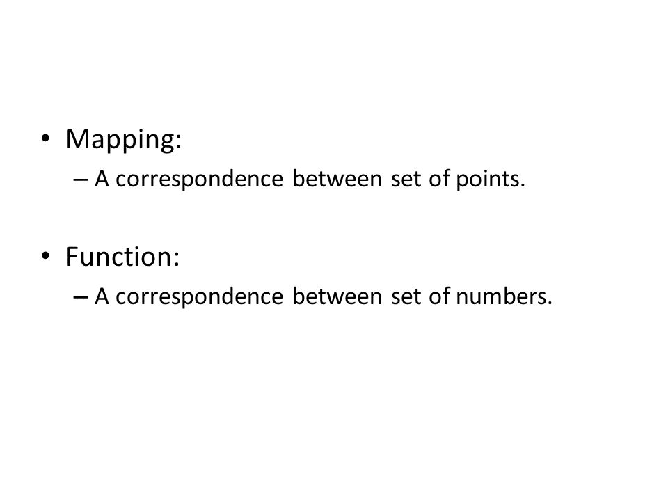 Mapping: Function: A correspondence between set of points.