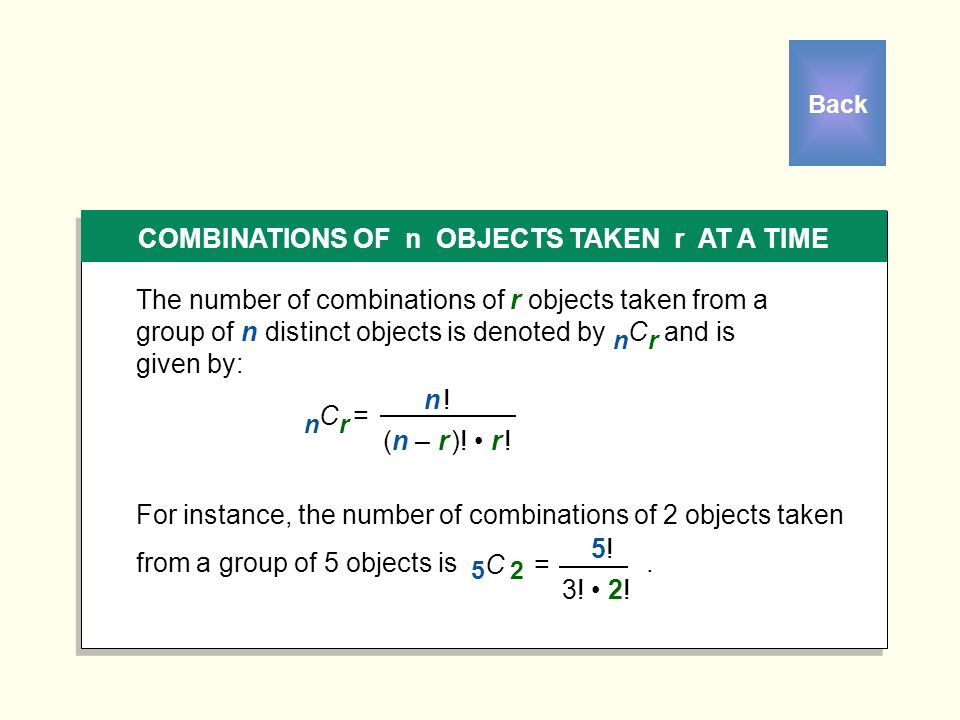 COMBINATIONS OF n OBJECTS TAKEN r AT A TIME