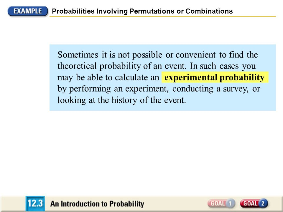 Probabilities Involving Permutations or Combinations