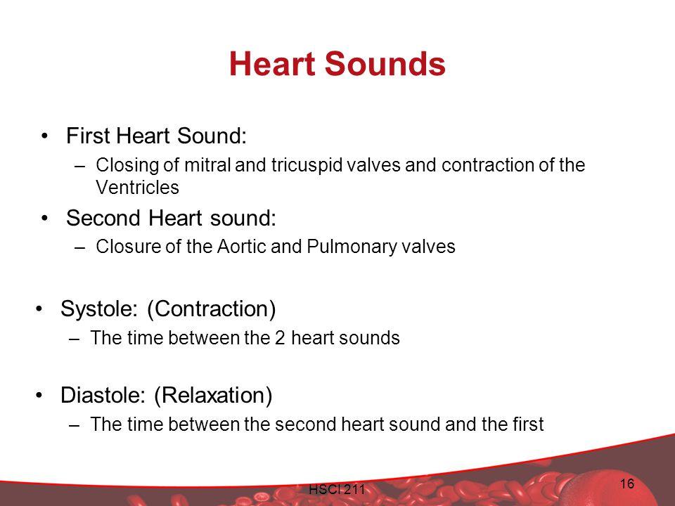 Heart Sounds First Heart Sound: Second Heart sound: